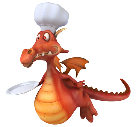 Cartoon dragon with chef hat and plate flying
