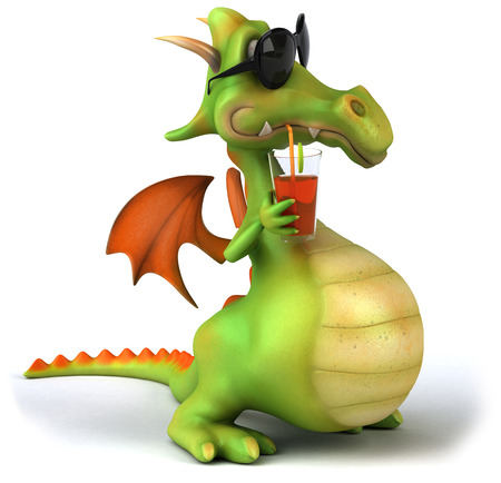 Cartoon dragon with sunglasses drinking juice Reklamní fotografie - 80093403