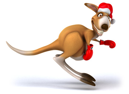 Cartoon kangaroo with santa hat and boxing gloves hopping