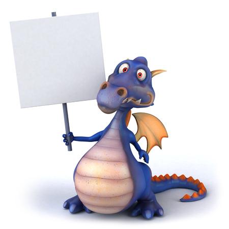 mythological character: Cartoon dragon holding a placard Stock Photo