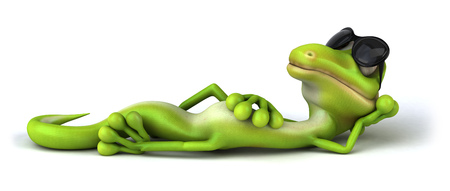 Cartoon lizard with sunglasses lying down and posing Stock Photo