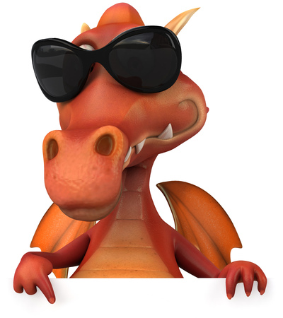 Cartoon lizard with sunglasses pointing downward