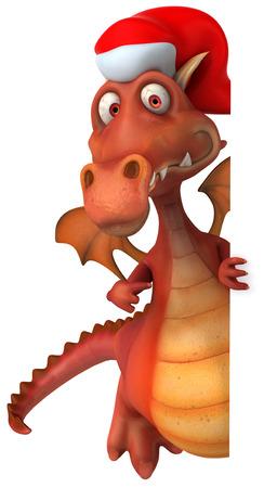 Cartoon dragon with santa hat Stock Photo