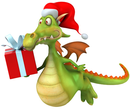 outerwear: Cartoon dragon with santa hat and a gift box flying