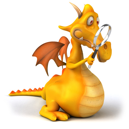 convenient: Cartoon dragon with a magnifying glass
