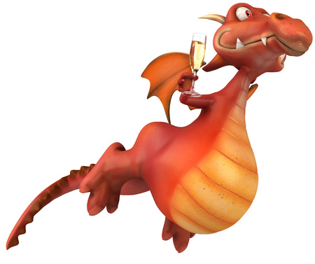 Cartoon dragon with champagne flying