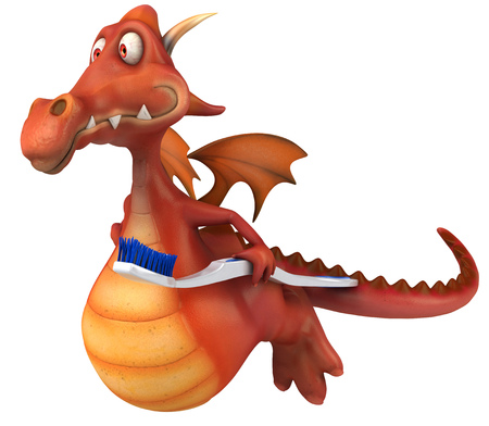 Cartoon dragon with a toothbrush flying