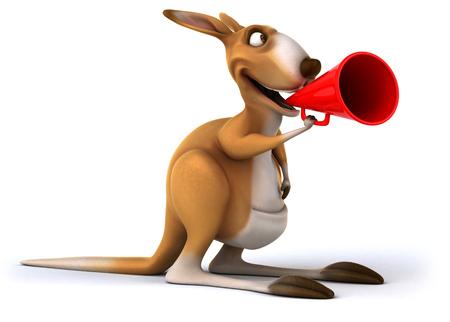 Cartoon kangaroo shouting into megaphone Stock Photo
