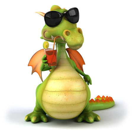 Cartoon dragon with sunglasses drinking juice
