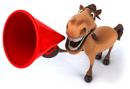 Cartoon horse shouting into megaphone Stock Photo