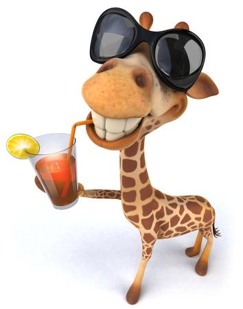 Cartoon giraffe with sunglasses drinking juice Banco de Imagens