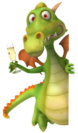 mythological character: Cartoon dragon with a glass of champagne
