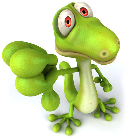 Cartoon lizard showing thumbs down gesture