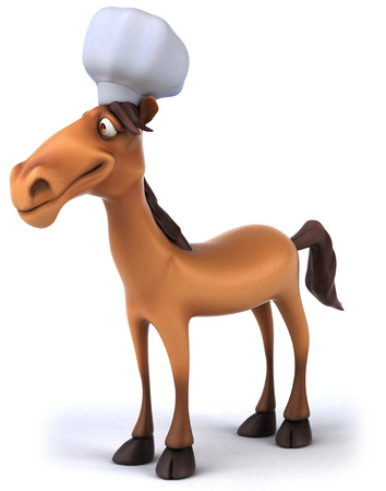 Cartoon horse with chef hat standing