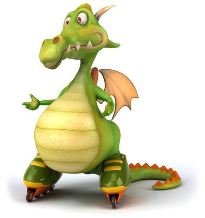 length: Cartoon dragon with roller skates