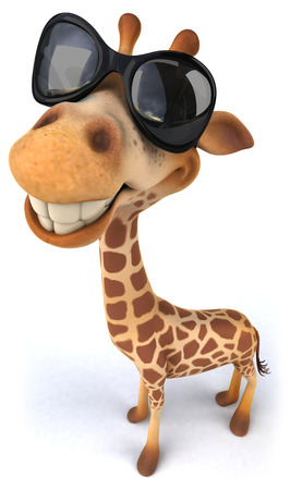 Cartoon giraffe with sunglasses smiling