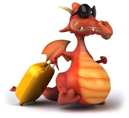 length: Cartoon dragon with sunglasses and a luggage Stock Photo