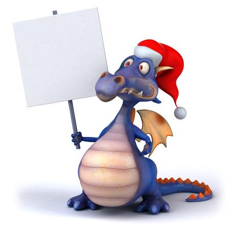 Cartoon dragon with santa hat and a placard
