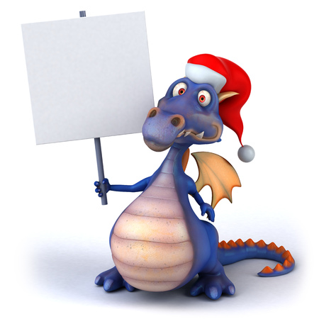 Cartoon dragon with santa hat holding a placard