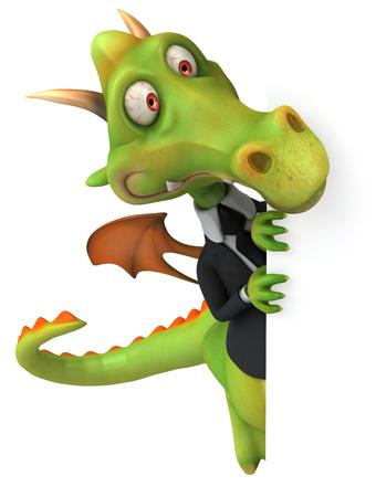 Cartoon dragon with suit peeking Stok Fotoğraf