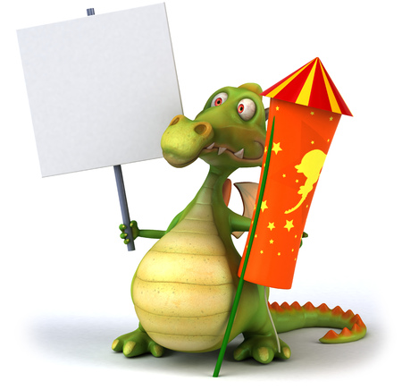 Cartoon dragon holding a placard and firecracker Stock Photo