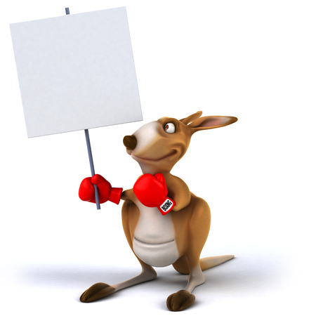 Cartoon kangaroo with boxing gloves holding a placard