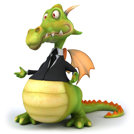 Cartoon dragon in suit standing and posing Stock Photo