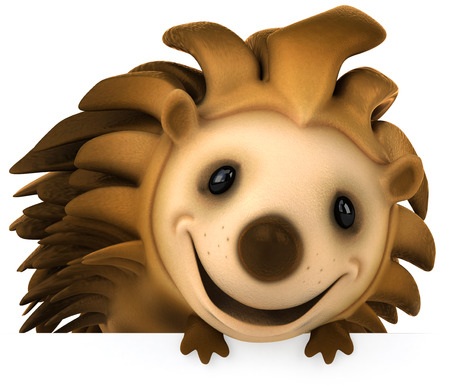 Cartoon hedgehog smiling and looking to camera