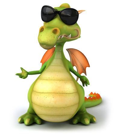 Cartoon dragon with sunglasses standing and posing