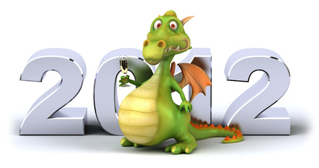 length: Cartoon dragon with champagne and 2012