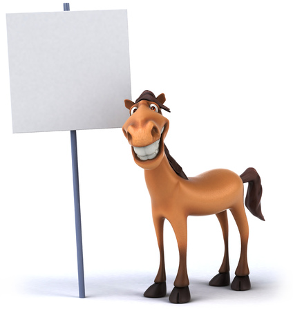 Cartoon horse with a placard