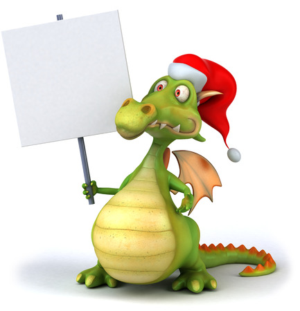 festivity: Cartoon dragon with santa hat holding a placard