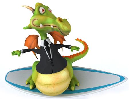 Cartoon dragon in suit surfing Stock Photo