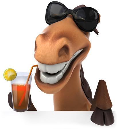ジュースのガラスを飲むサングラス漫画馬