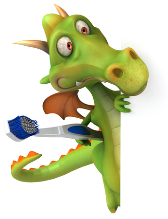 Cartoon dragon with a toothbrush peeking Stock Photo