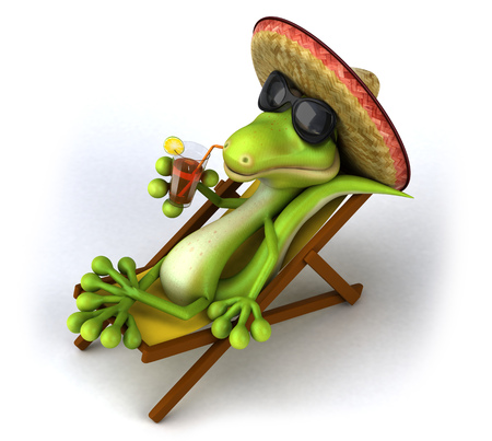 Cartoon lizard with sombrero hat and juice on deckchair