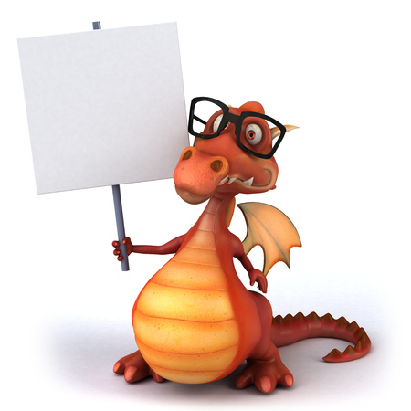 Cartoon dragon with glasses holding a placard Stock Photo