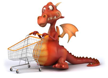Cartoon dragon pushing a shopping cart