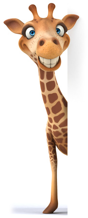 peep: Cartoon giraffe peeking