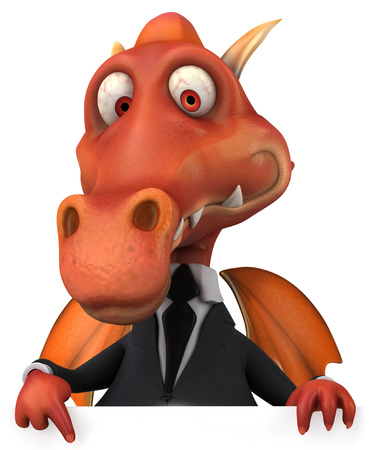 length: Cartoon dragon in suit pointing downward