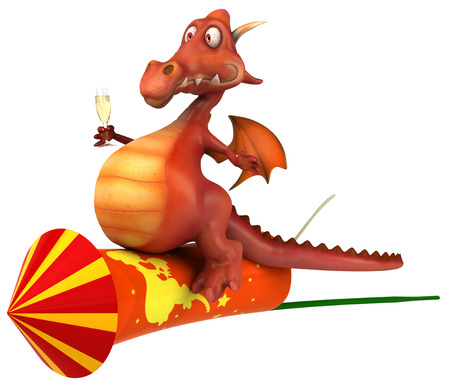 Cartoon dragon riding on firecracker with a glass of champagne Stock Photo