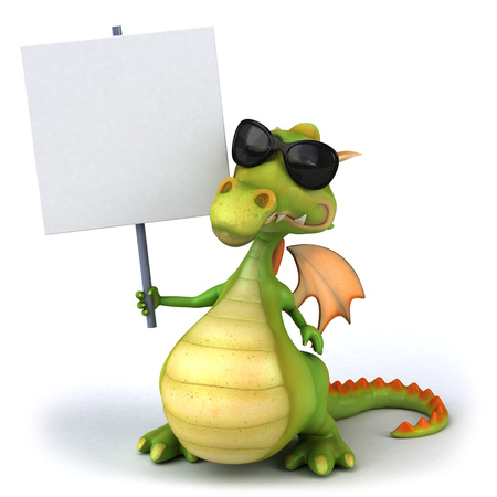 Cartoon dragon with sunglasses holding a placard