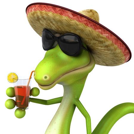 Cartoon lizard with sunglasses and sombrero hat drinking juice