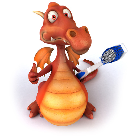 Cartoon dragon with a toothbrush showing thumbs up gesture Stock Photo