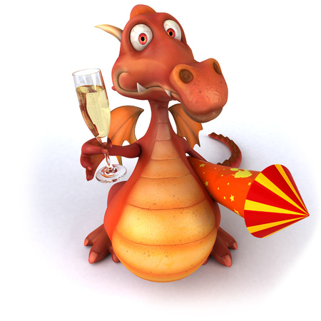 pyrotechnic: Cartoon dragon with firecracker and a glass of champagne