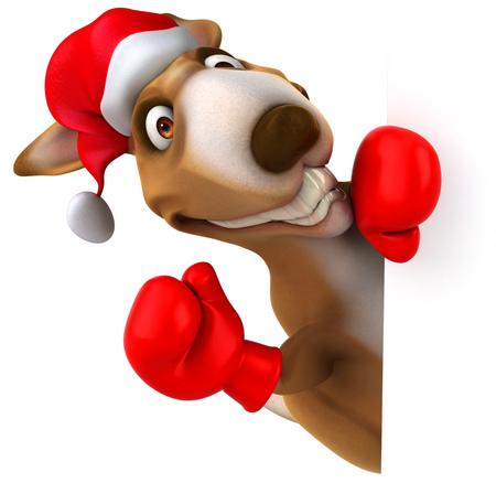 padding: Cartoon kangaroo with santa hat and boxing gloves