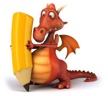 length: Cartoon dragon with a pencil Stock Photo