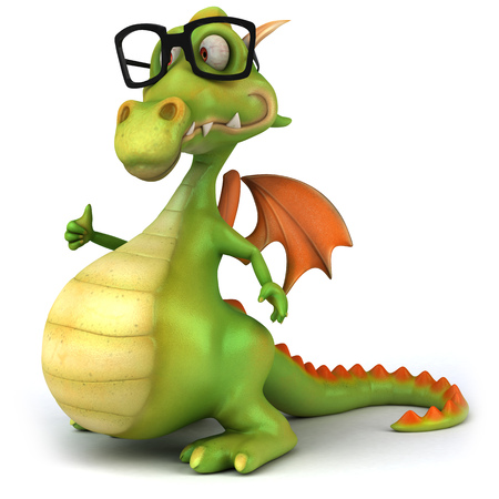 Cartoon dragon with glasses showing thumbs up gesture