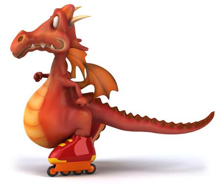 Cartoon dragon roller skating