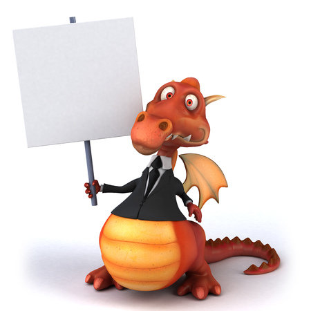 Cartoon dragon in suit holding a placard